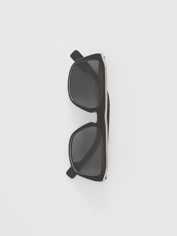 Icon Stripe Detail Square Frame Sunglasses in Black - Men | Burberry - cell image 2