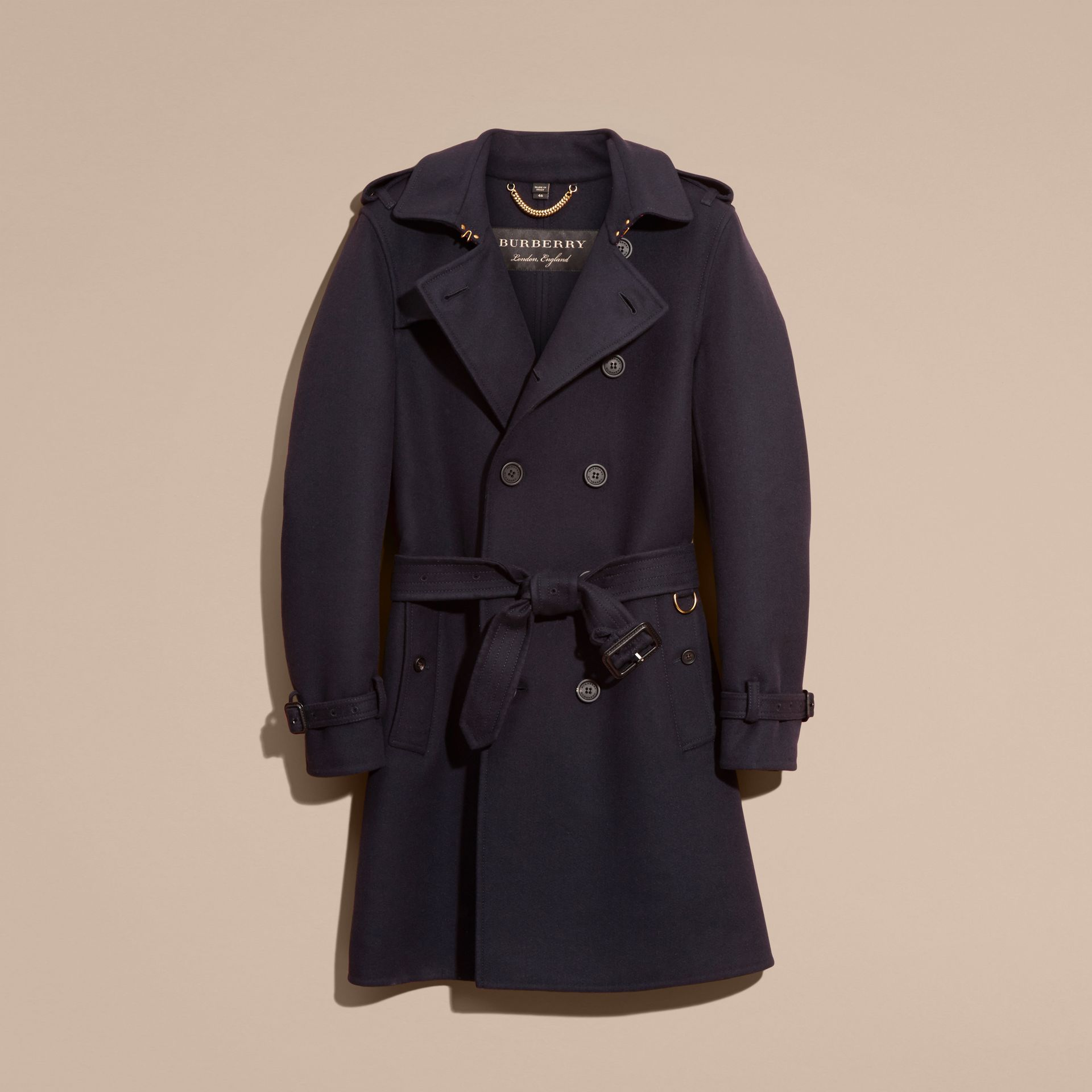 Navy Cashmere Wool Trench Coat - gallery image 4