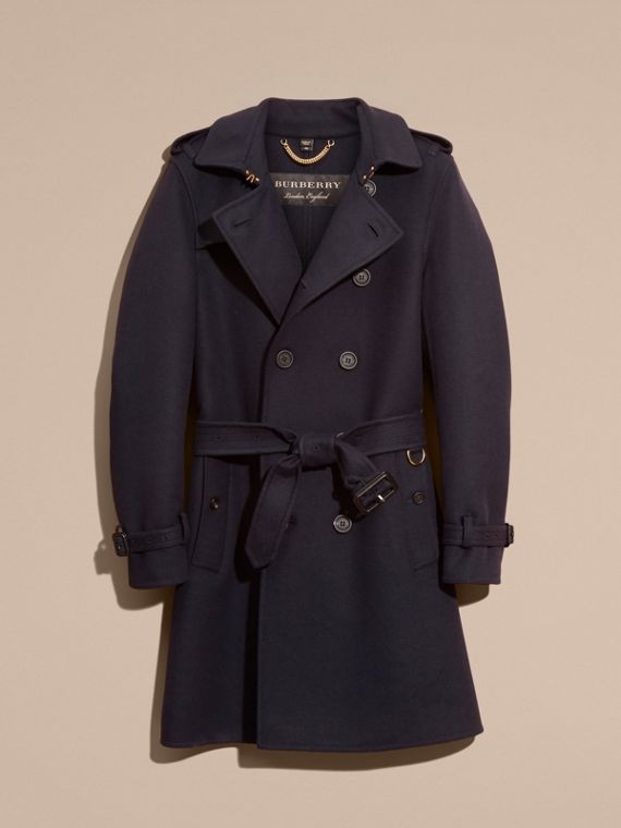 Navy Cashmere Wool Trench Coat - cell image 3