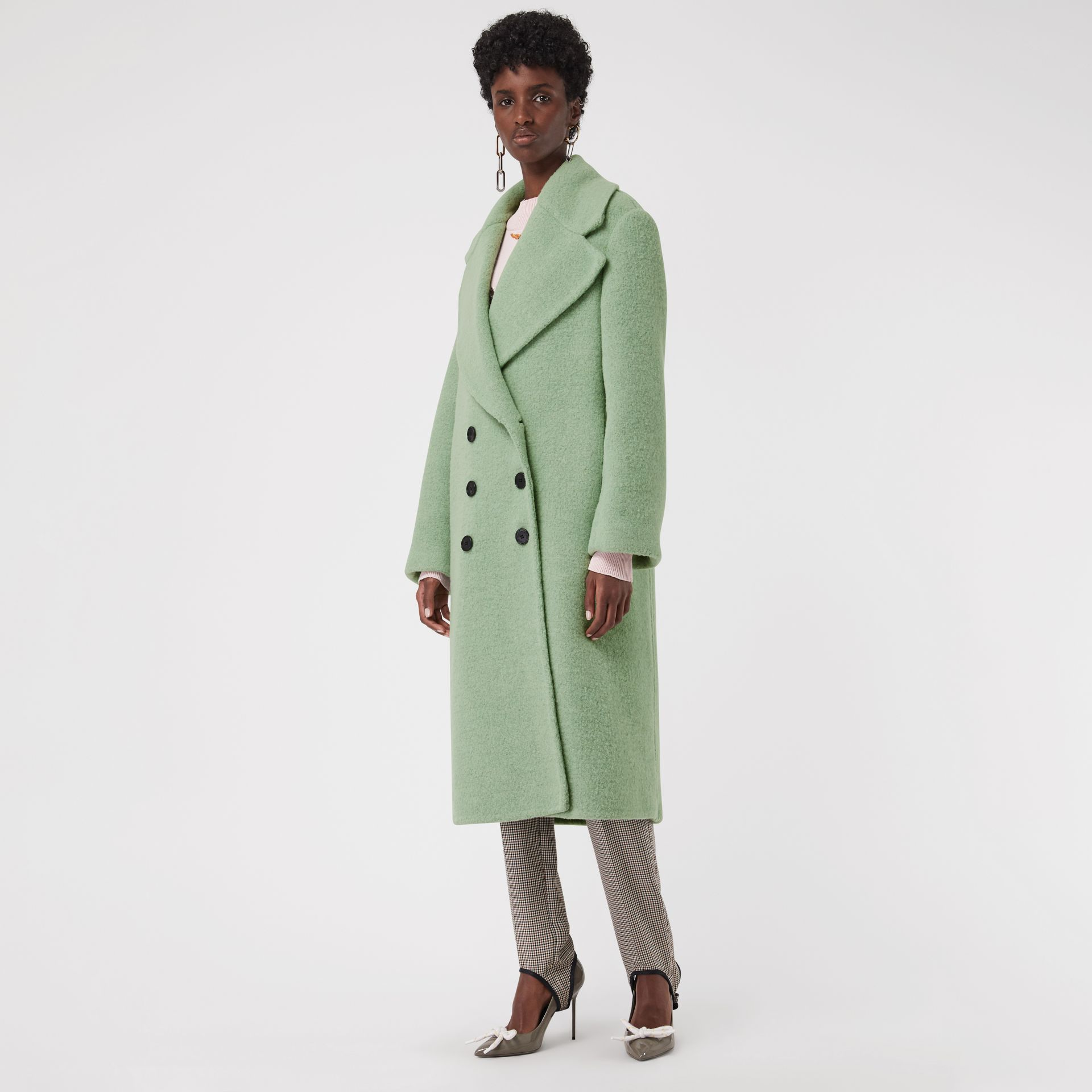 Double-faced Wool Alpaca Blend Cocoon Coat in Celadon Green - Women | Burberry - gallery image 5