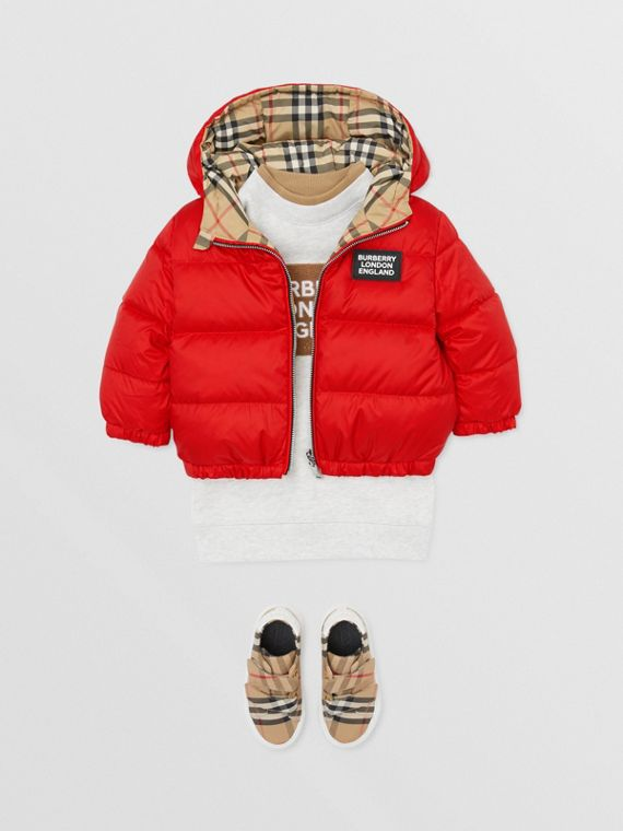 Reversible Vintage Check Down-filled Puffer Jacket in Bright Red