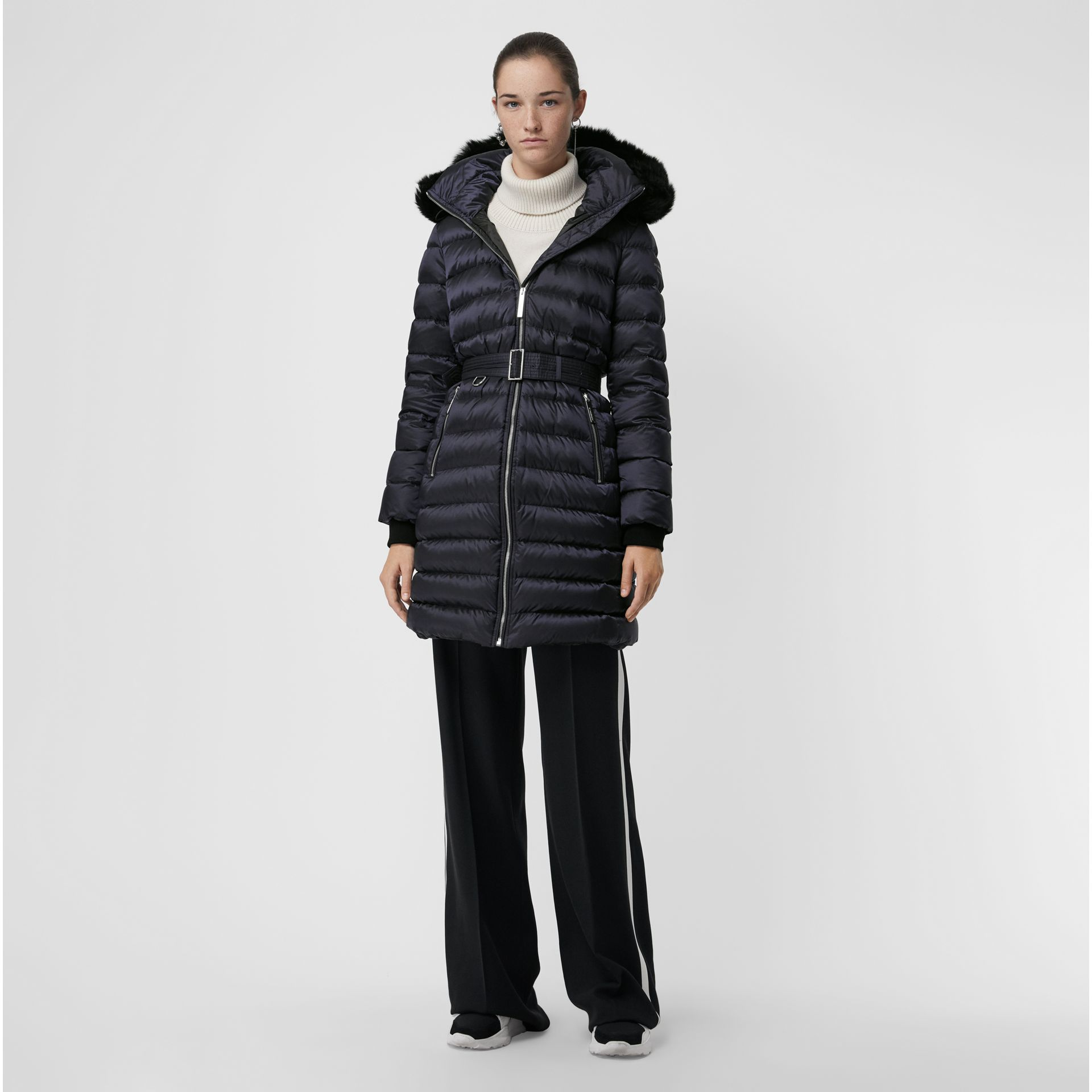 Detachable Shearling Trim Down-filled Puffer Coat in Navy - Women | Burberry - gallery image 0