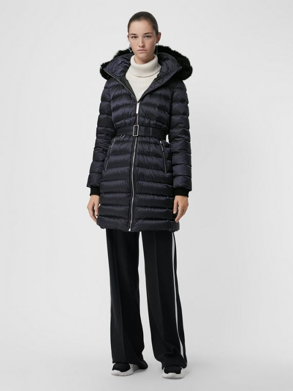 Detachable Shearling Trim Down-filled Puffer Coat in Navy