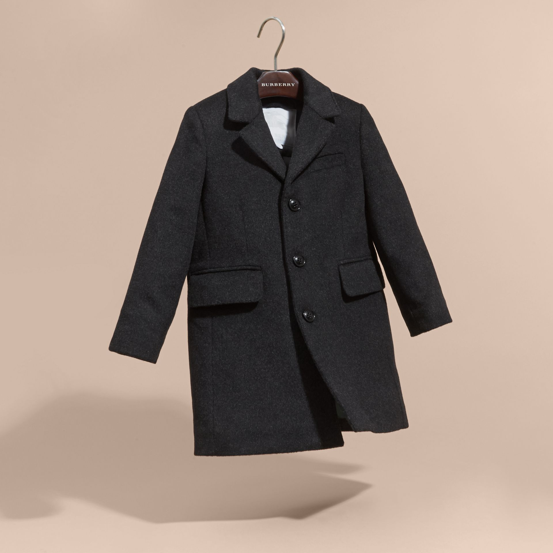 Dark grey melange Down-filled Wool Cashmere Overcoat - gallery image 3