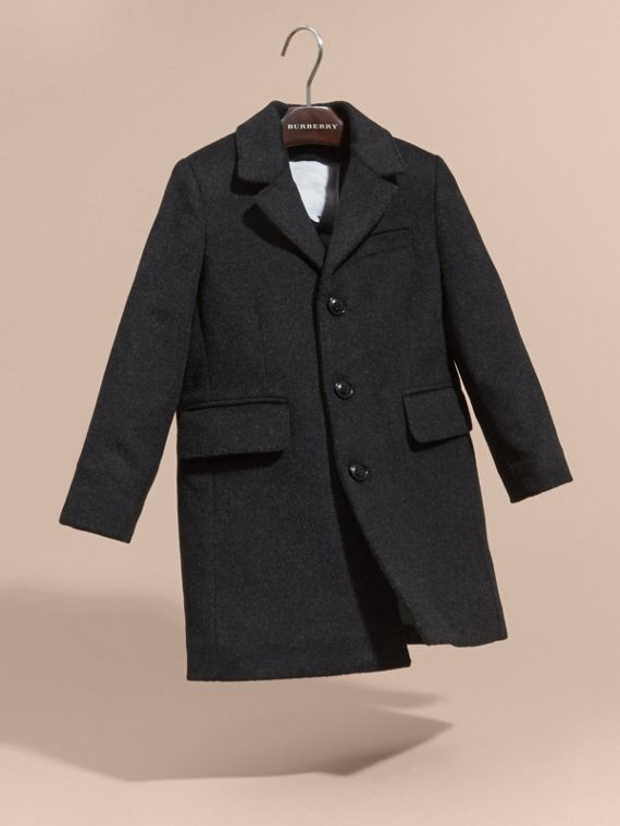 Dark grey melange Down-filled Wool Cashmere Overcoat - cell image 2