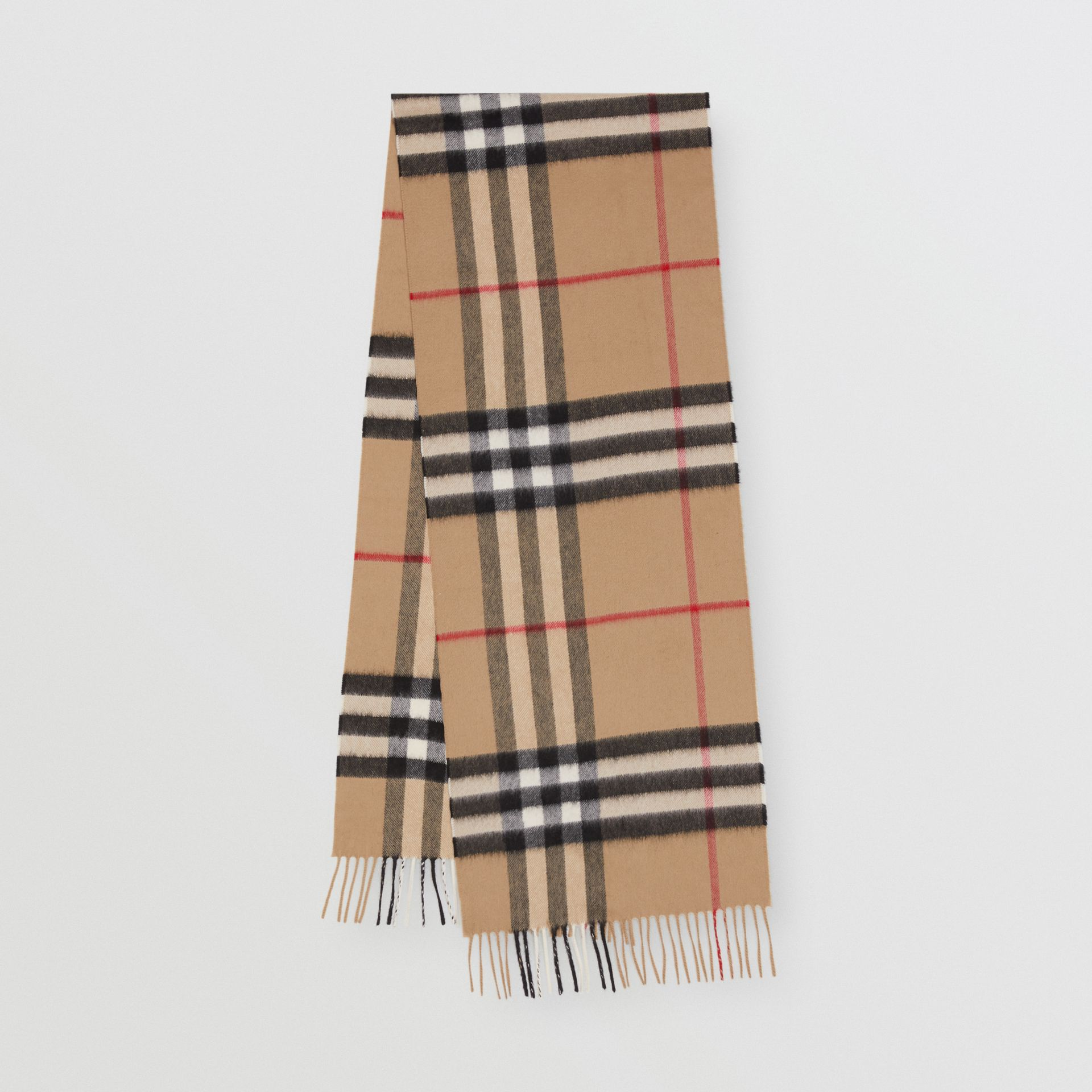 The Classic Check Cashmere Scarf in Archive Beige | Burberry Singapore - gallery image 0