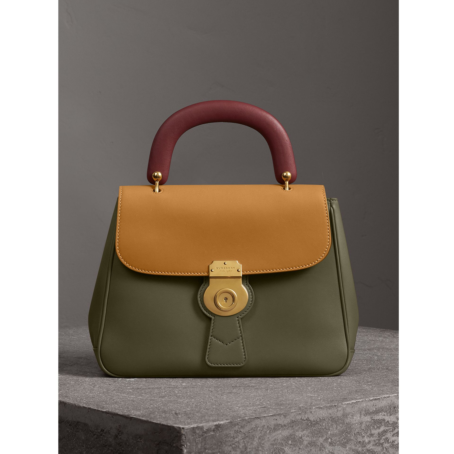 The Medium DK88 Top Handle Bag in Moss Green/ochre Yellow - Women | Burberry Singapore - gallery image 0
