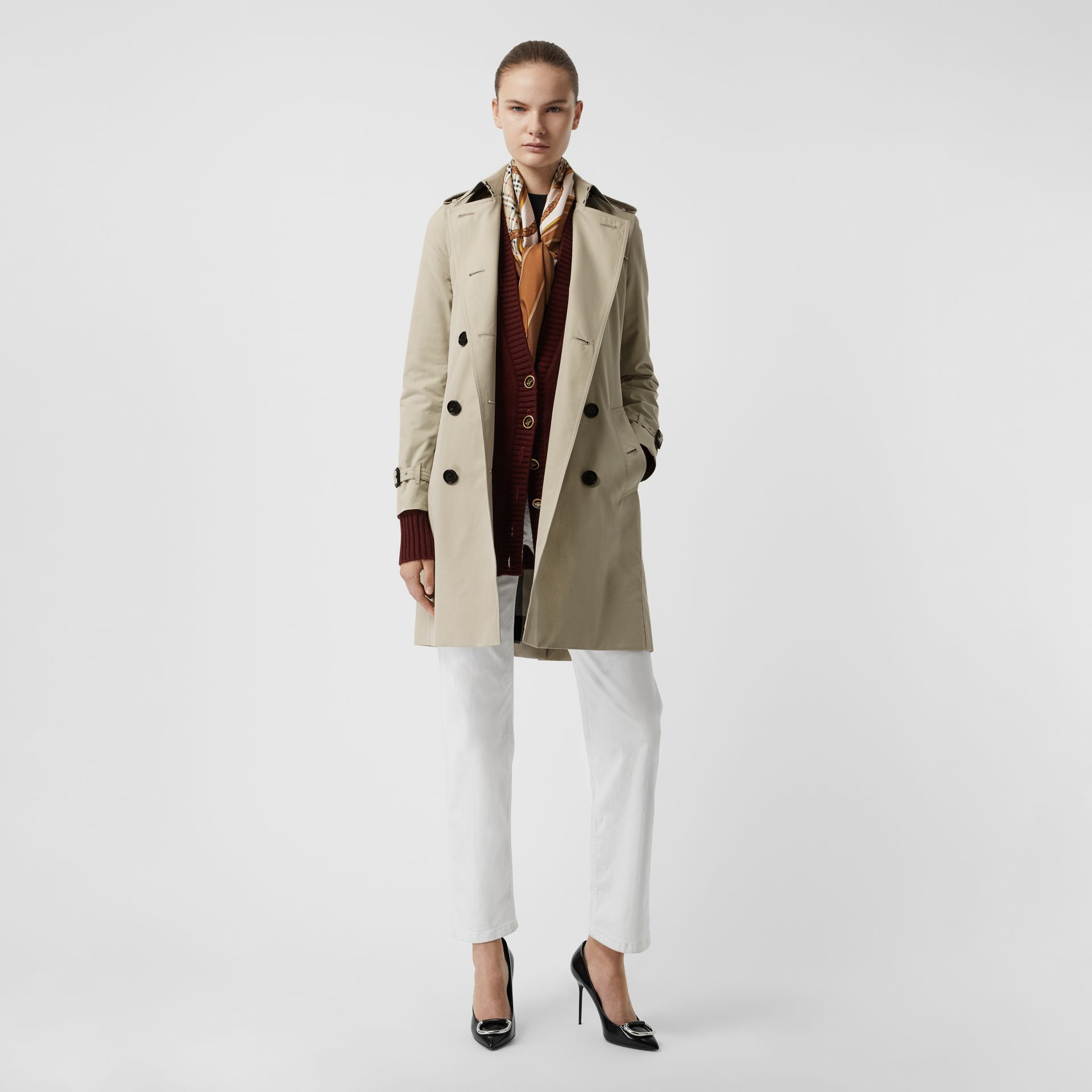 Kensington Fit Cotton Gabardine Trench Coat in Stone - Women | Burberry - gallery image 0