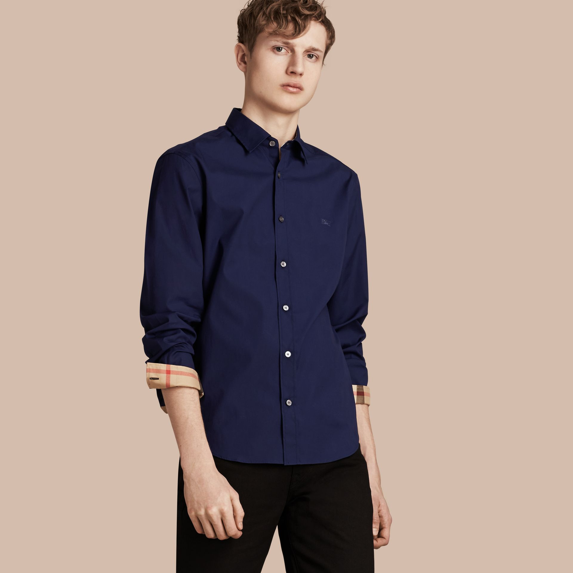 Indigo blue Check Detail Stretch Cotton Poplin Shirt Indigo Blue - gallery image 1