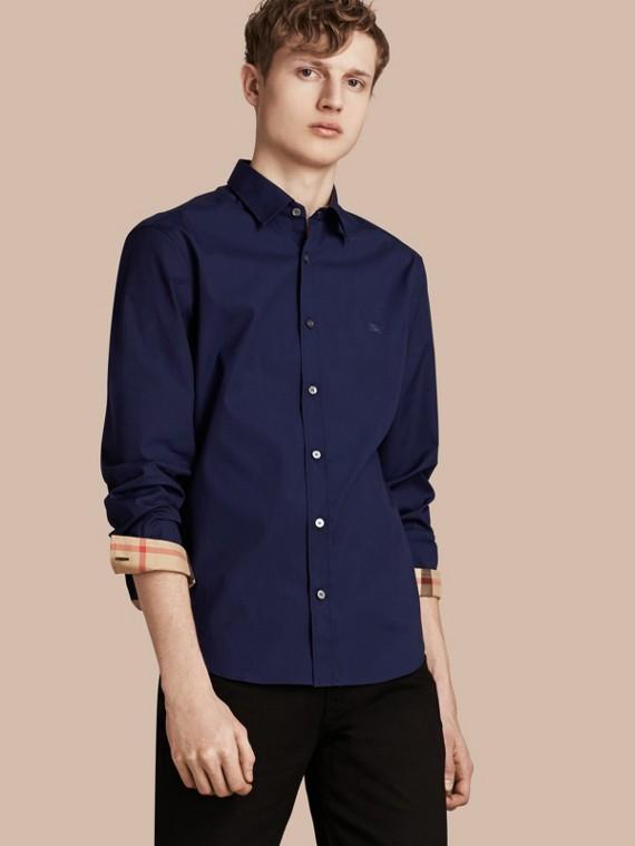 Check Detail Stretch Cotton Poplin Shirt Indigo Blue
