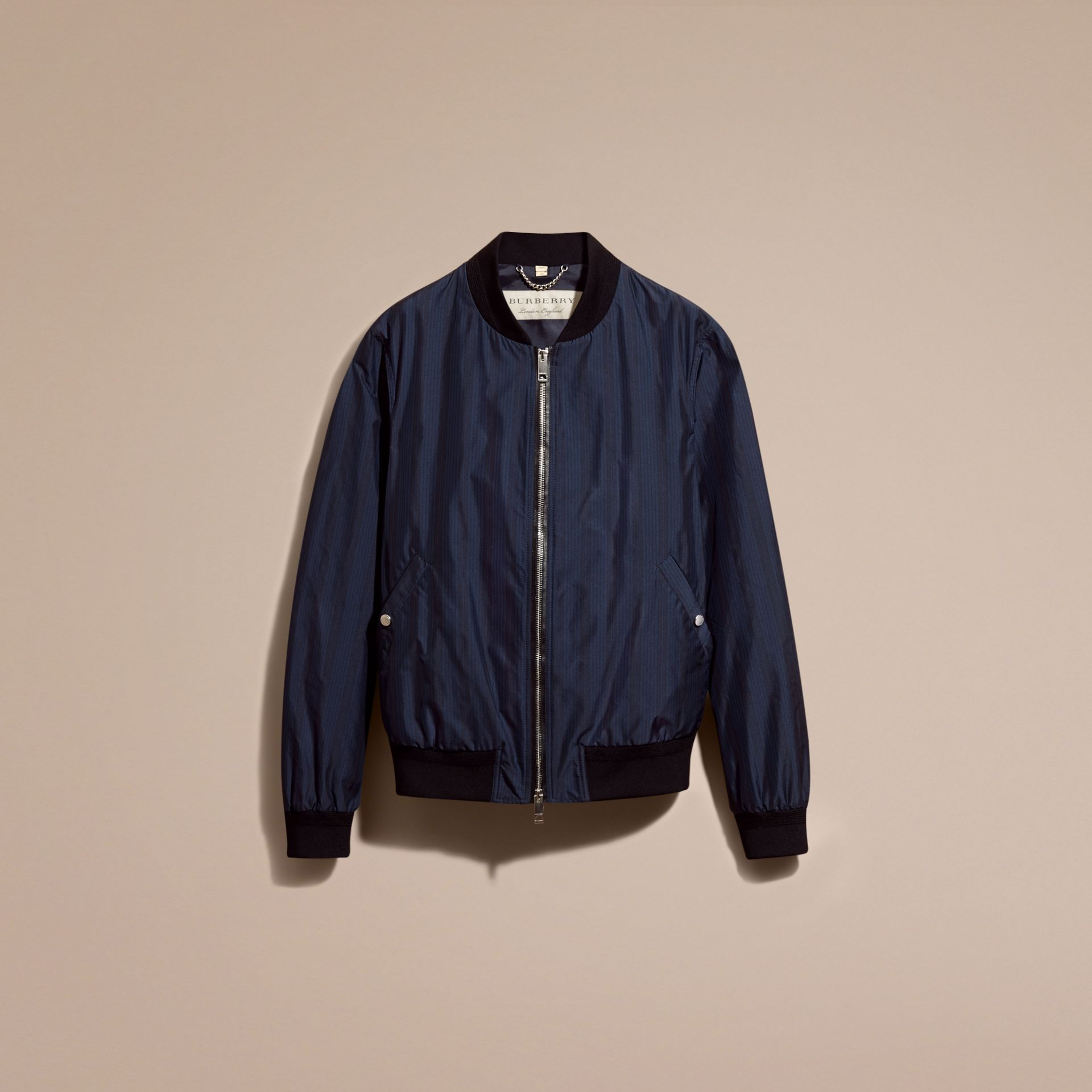 Navy Striped Technical Bomber Jacket - gallery image 4