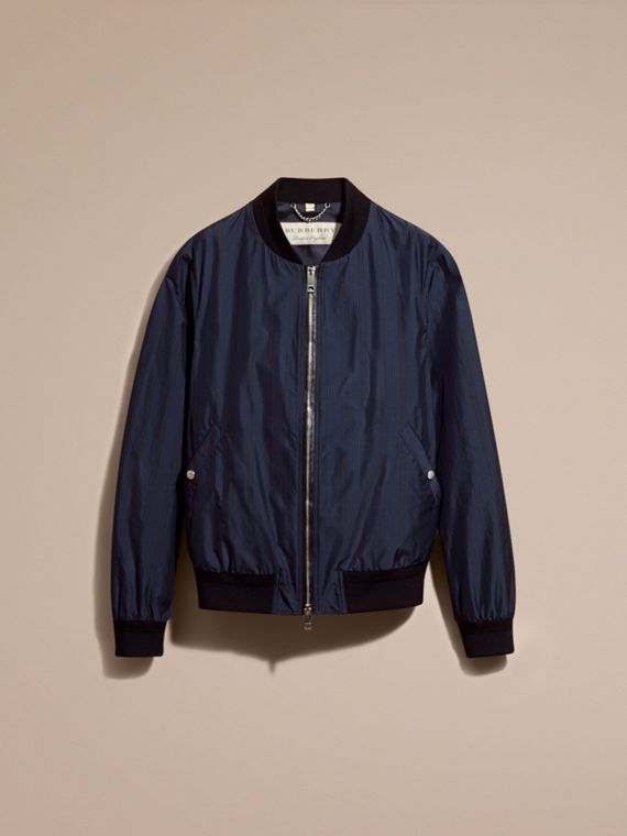 Navy Striped Technical Bomber Jacket - cell image 3