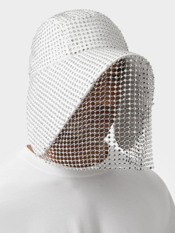 Crystal Mesh Detail Cotton Bonnet Cap in Optic White