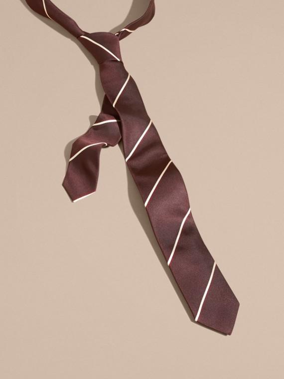 Slim Fit Striped Silk Tie Deep Claret