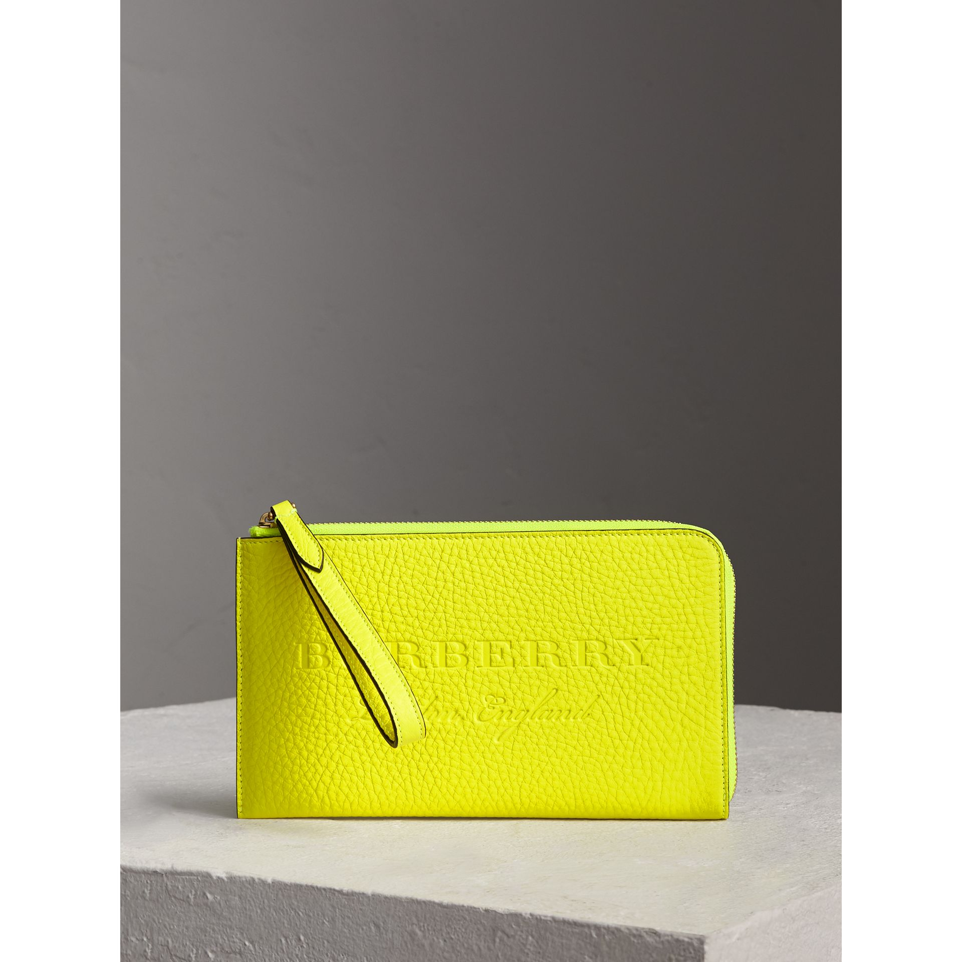 Embossed Neon Leather Travel Wallet in Bright Yellow | Burberry - gallery image 0