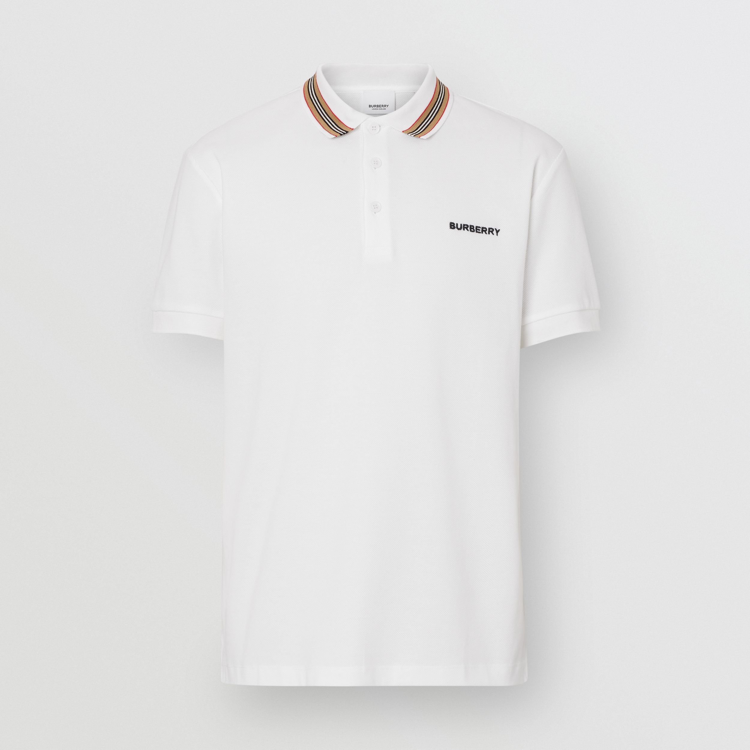 Icon Stripe Detail Cotton Piqué Polo Shirt in White - Men | Burberry - 4