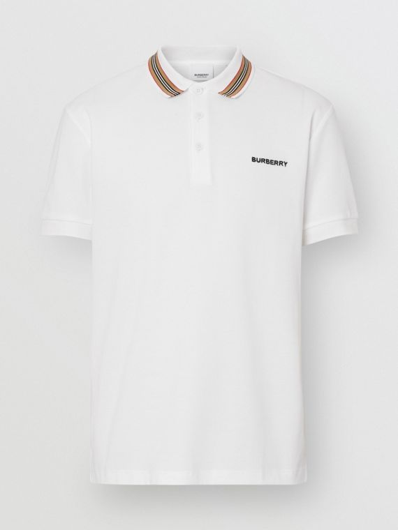 Icon Stripe Detail Cotton Piqué Polo Shirt in White