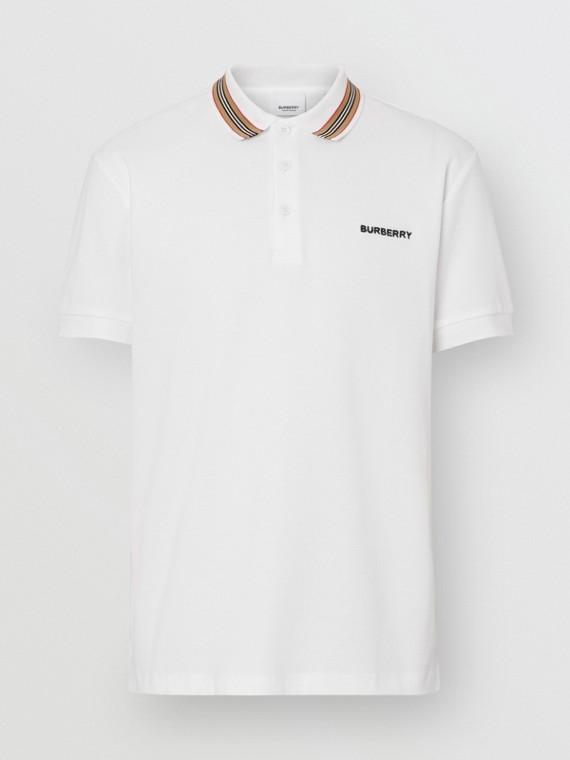 Polo en piqué de coton à rayures iconiques (Blanc)