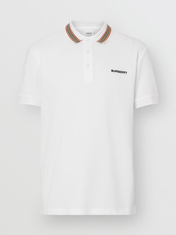 Icon Stripe Detail Cotton Piqué Polo Shirt in White - Men | Burberry - cell image 3