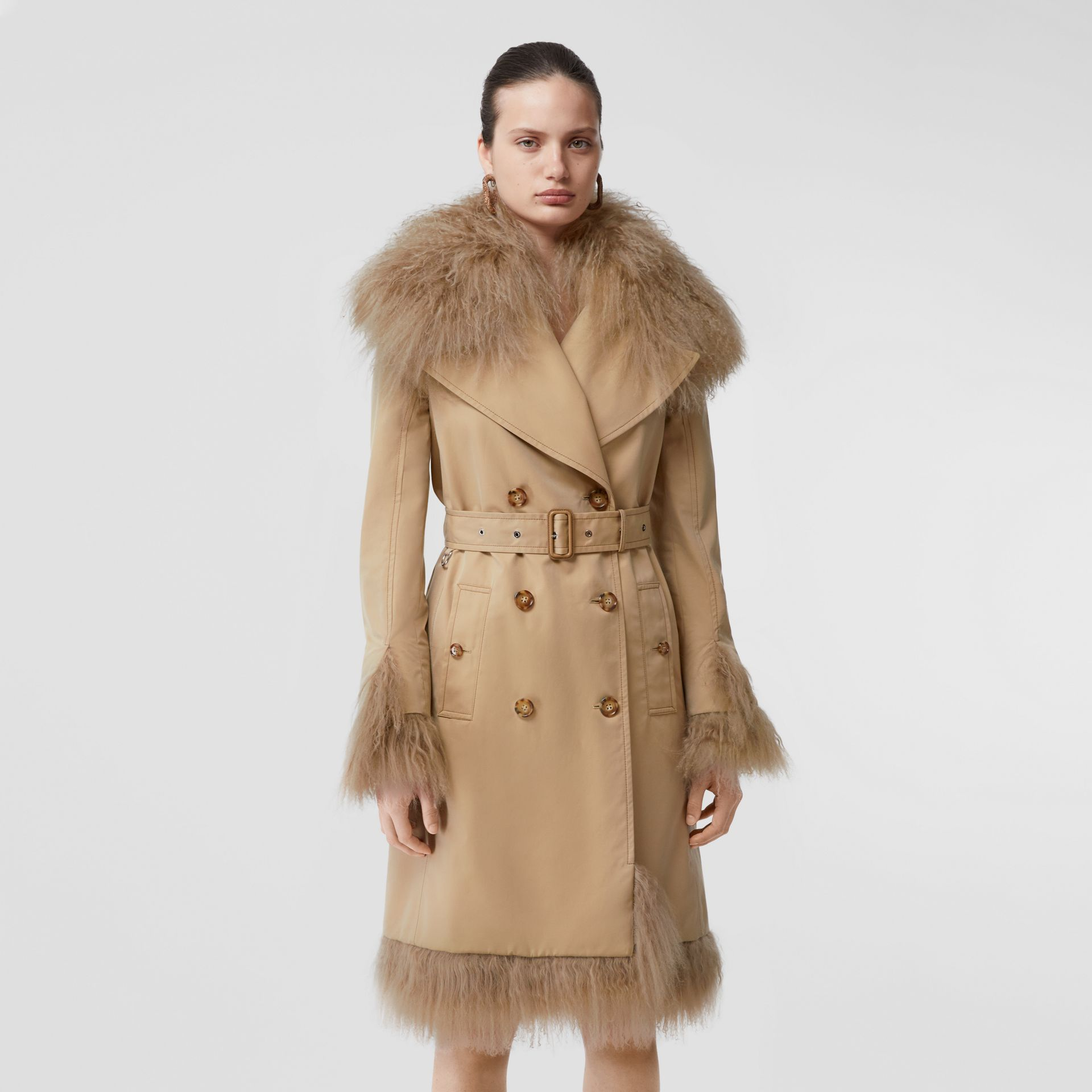 Shearling Trim Cotton Gabardine Belted Trench Coat in Honey - Women | Burberry - gallery image 0