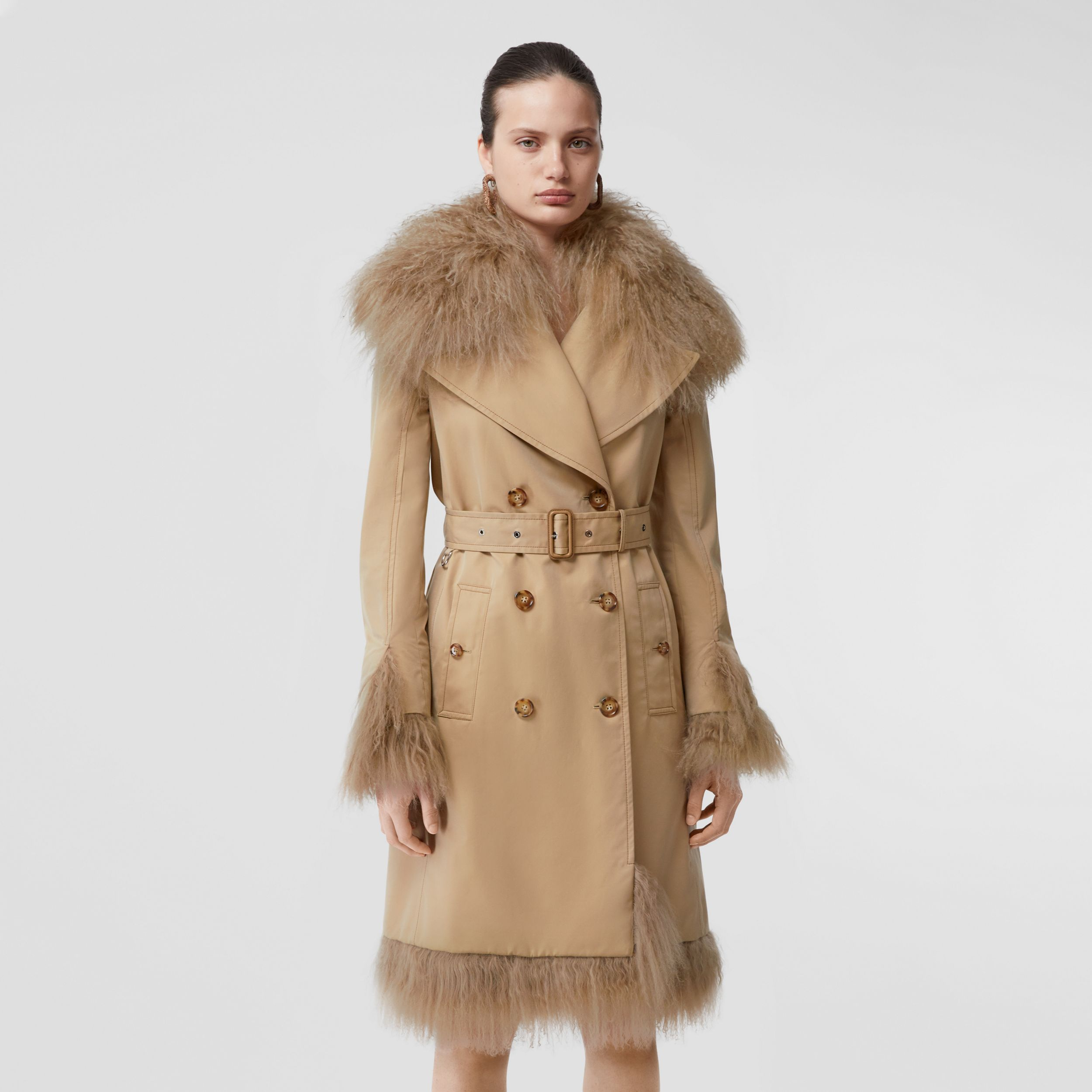 Shearling Trim Cotton Gabardine Belted Trench Coat in Honey - Women | Burberry - 1