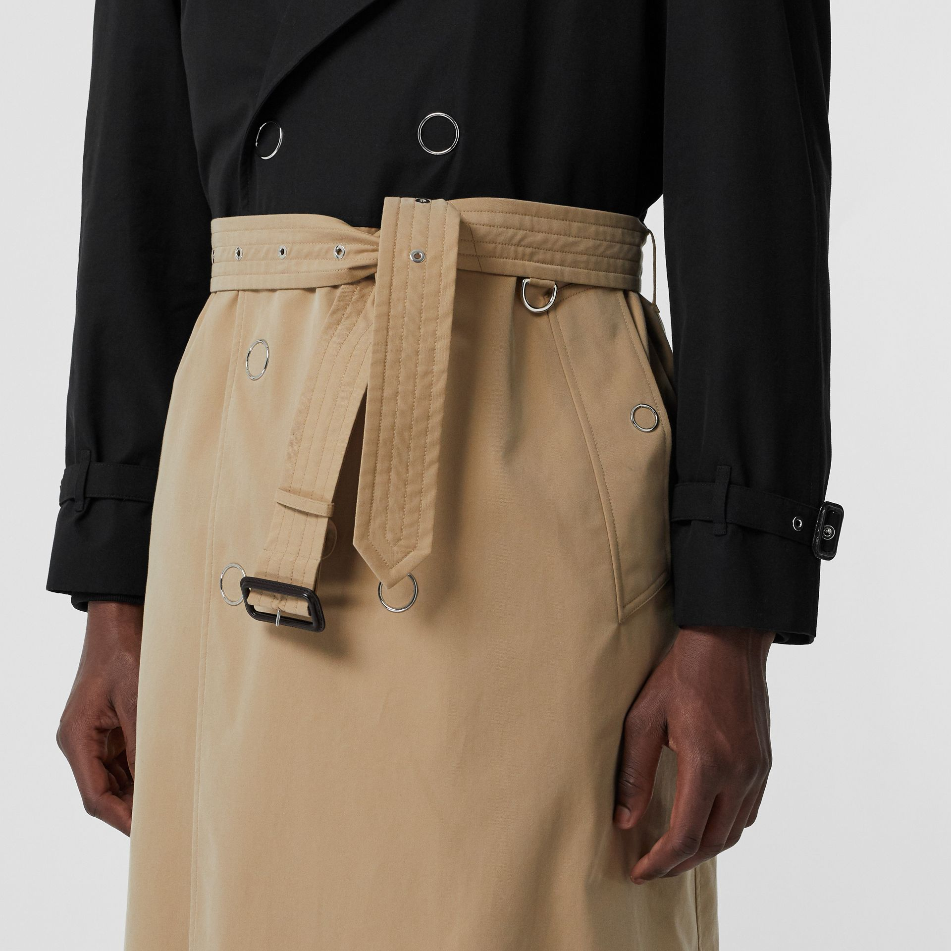 Two-tone Cotton Gabardine Trench Coat in Black | Burberry - gallery image 5