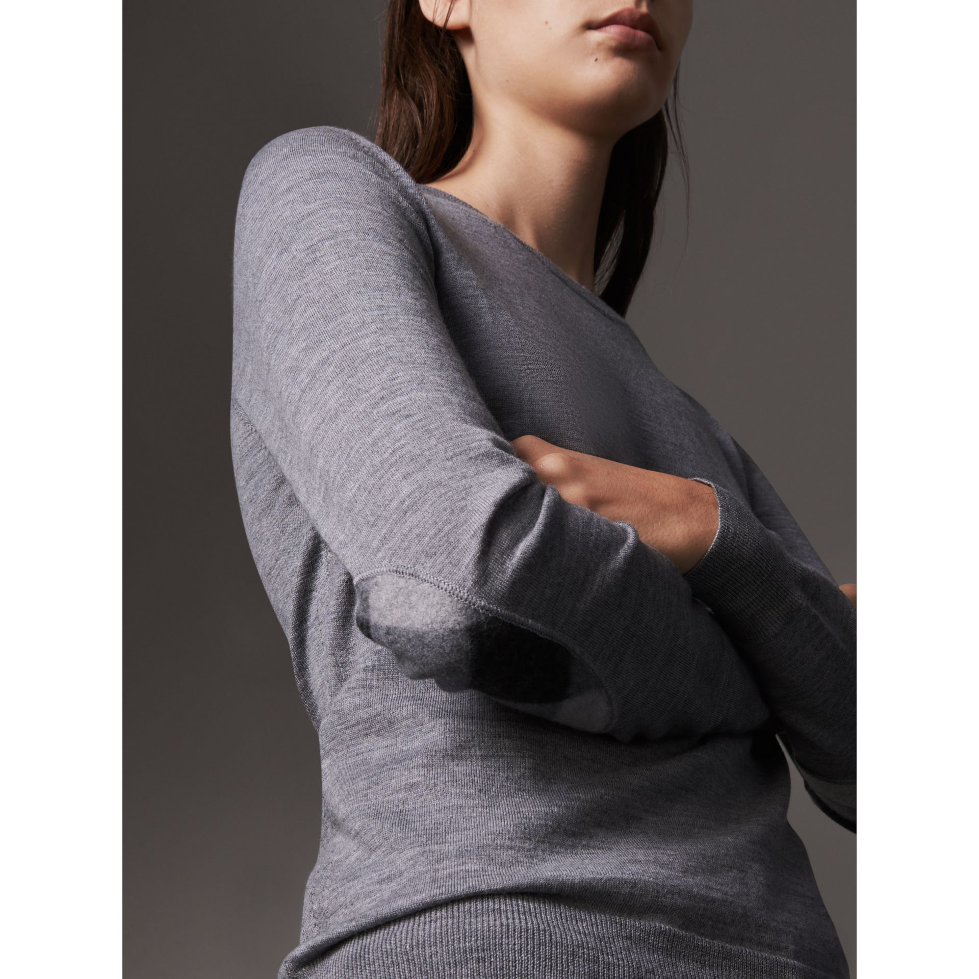 Check Detail Merino Wool Sweater in Mid Grey Melange - Women | Burberry United Kingdom - gallery image 1