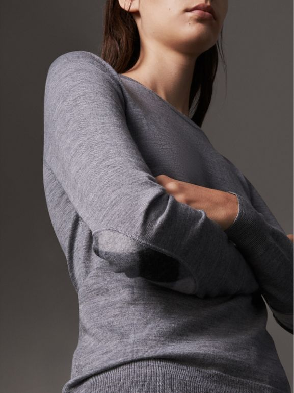 Check Detail Merino Wool Sweater in Mid Grey Melange - Women | Burberry - cell image 1