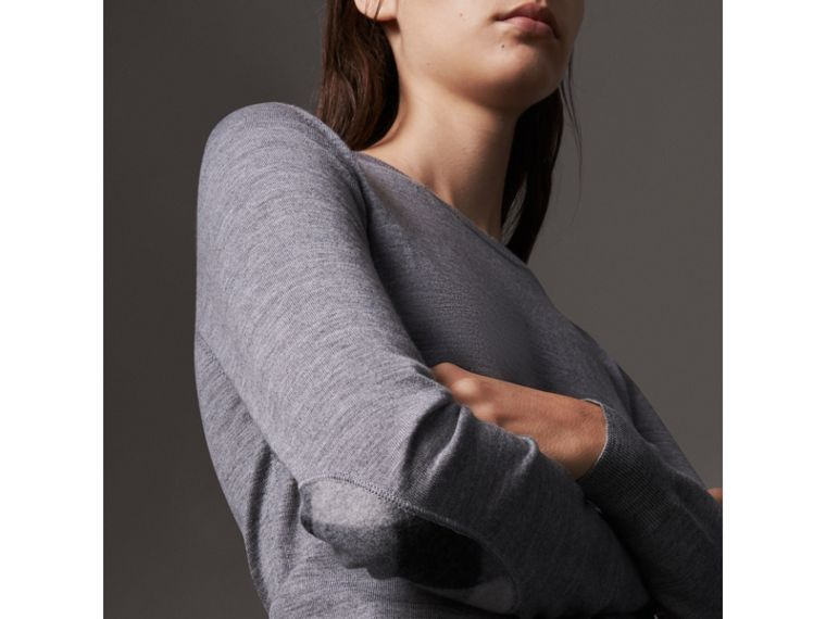 Check Detail Merino Wool Sweater in Mid Grey Melange - Women | Burberry Hong Kong - cell image 1