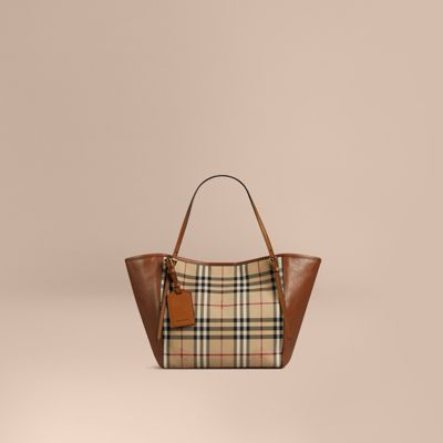 2a7386b0581c 39393771. the small canter in horseferry check and leather honey tan.  BURBERRY