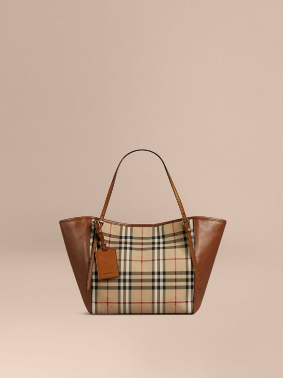 The Small Canter in Horseferry Check and Leather Honey/tan