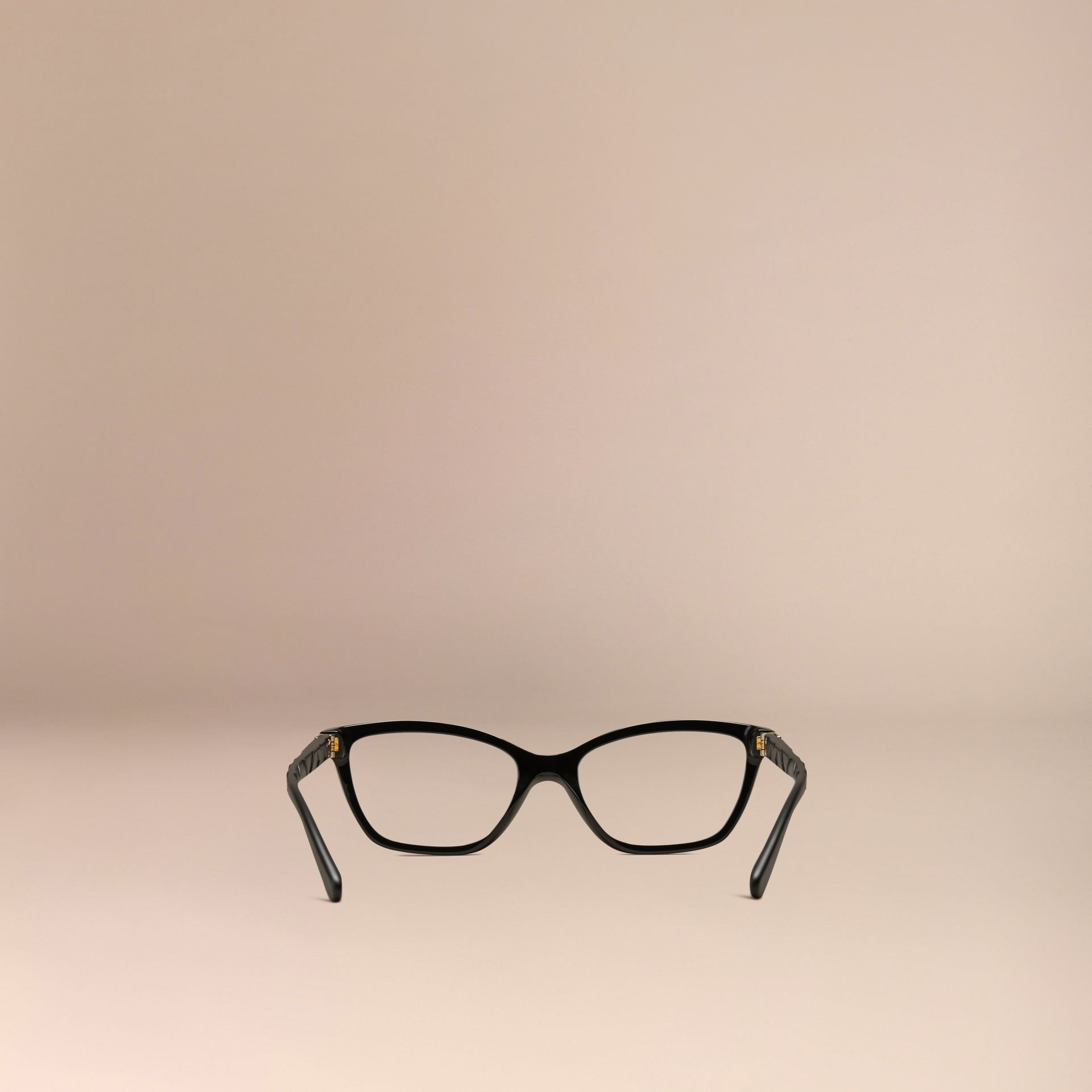 Check Detail Cat-eye Optical Frames in Black - gallery image 3