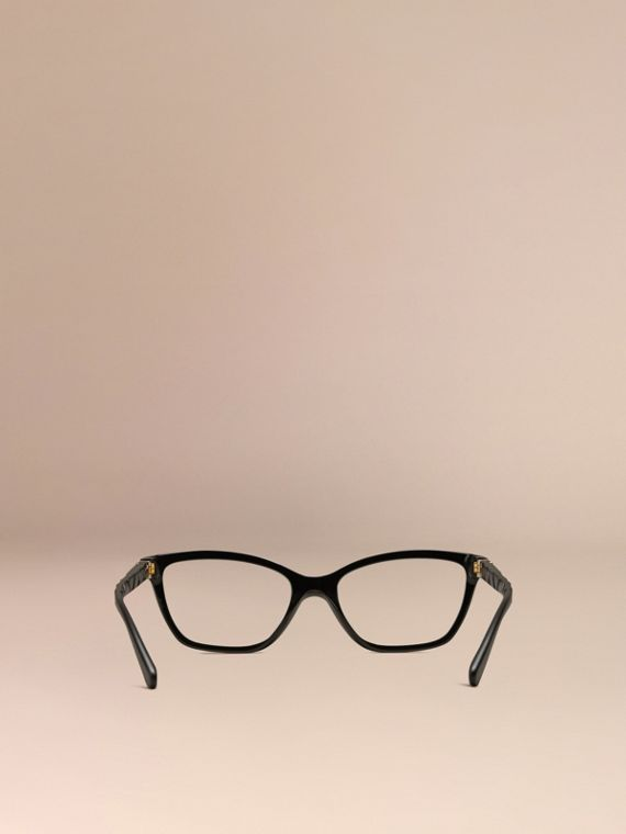 Black Check Detail Cat-eye Optical Frames Black - cell image 2