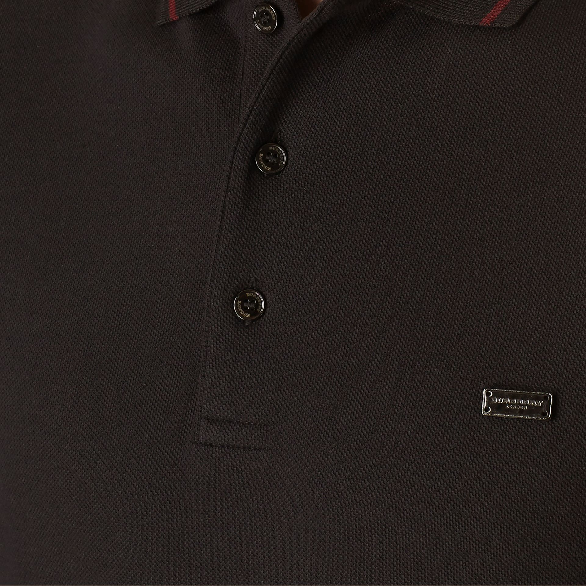Black/mahogany red Contrast Tipping Cotton Piqué Polo Shirt - gallery image 2