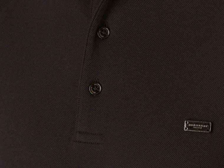 Black/mahogany red Contrast Tipping Cotton Piqué Polo Shirt - cell image 1