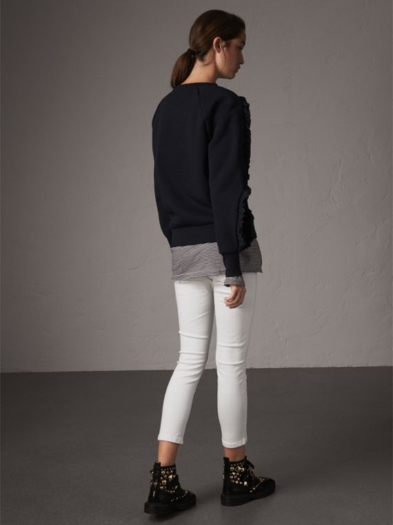 Ruffle-sleeve Sweatshirt in Navy - Women | Burberry United Kingdom - cell image 2