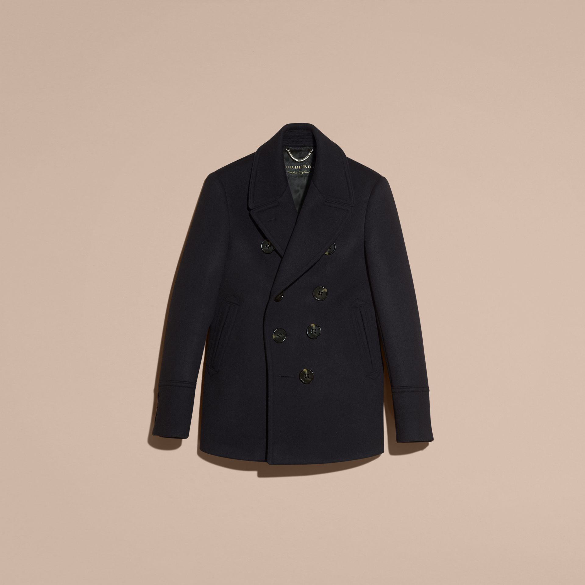 Navy Waisted Cashmere Wool Blend Pea Coat - gallery image 4