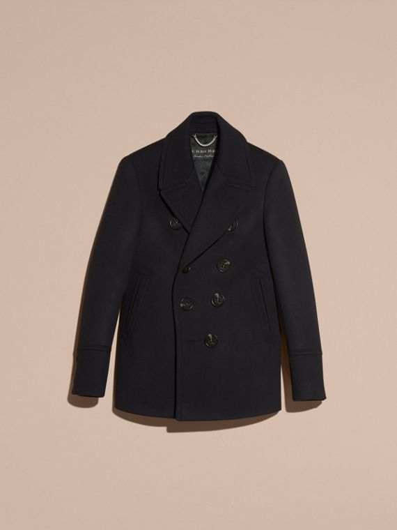 Navy Waisted Cashmere Wool Blend Pea Coat - cell image 3