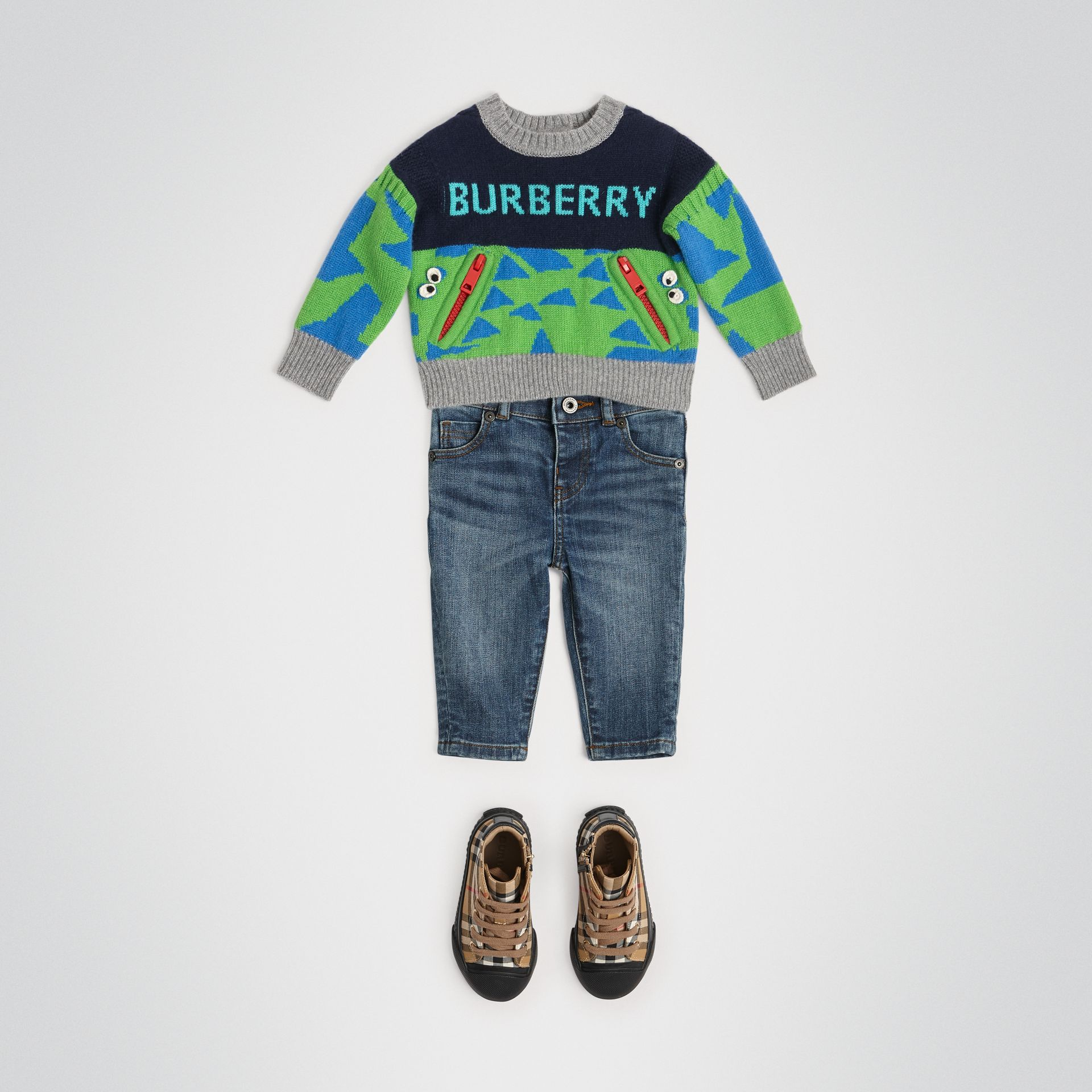 Skinny Fit Stretch Denim Jeans in Mid Indigo - Children | Burberry Hong Kong - gallery image 2