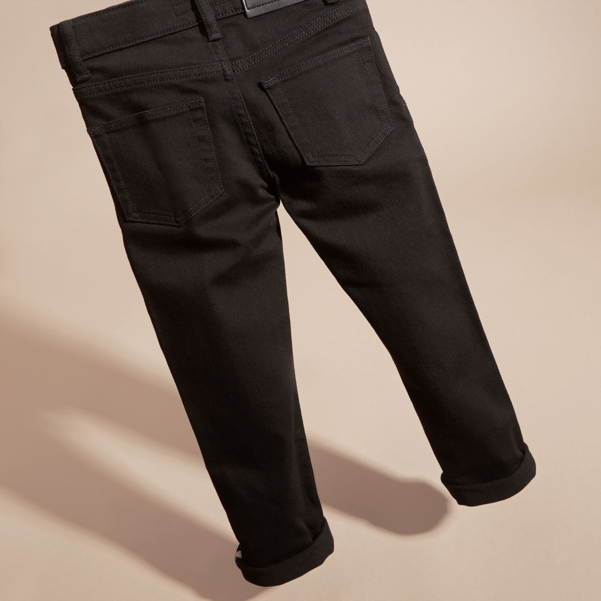 Skinny Fit Stretch Denim Jeans in Black - Boy | Burberry - gallery image 4