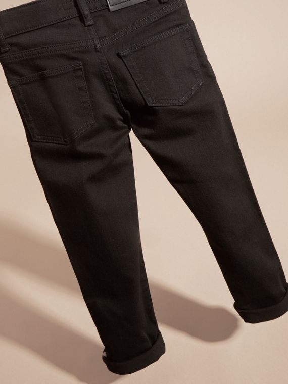 Skinny Fit Stretch Denim Jeans in Black - Boy | Burberry Australia - cell image 3