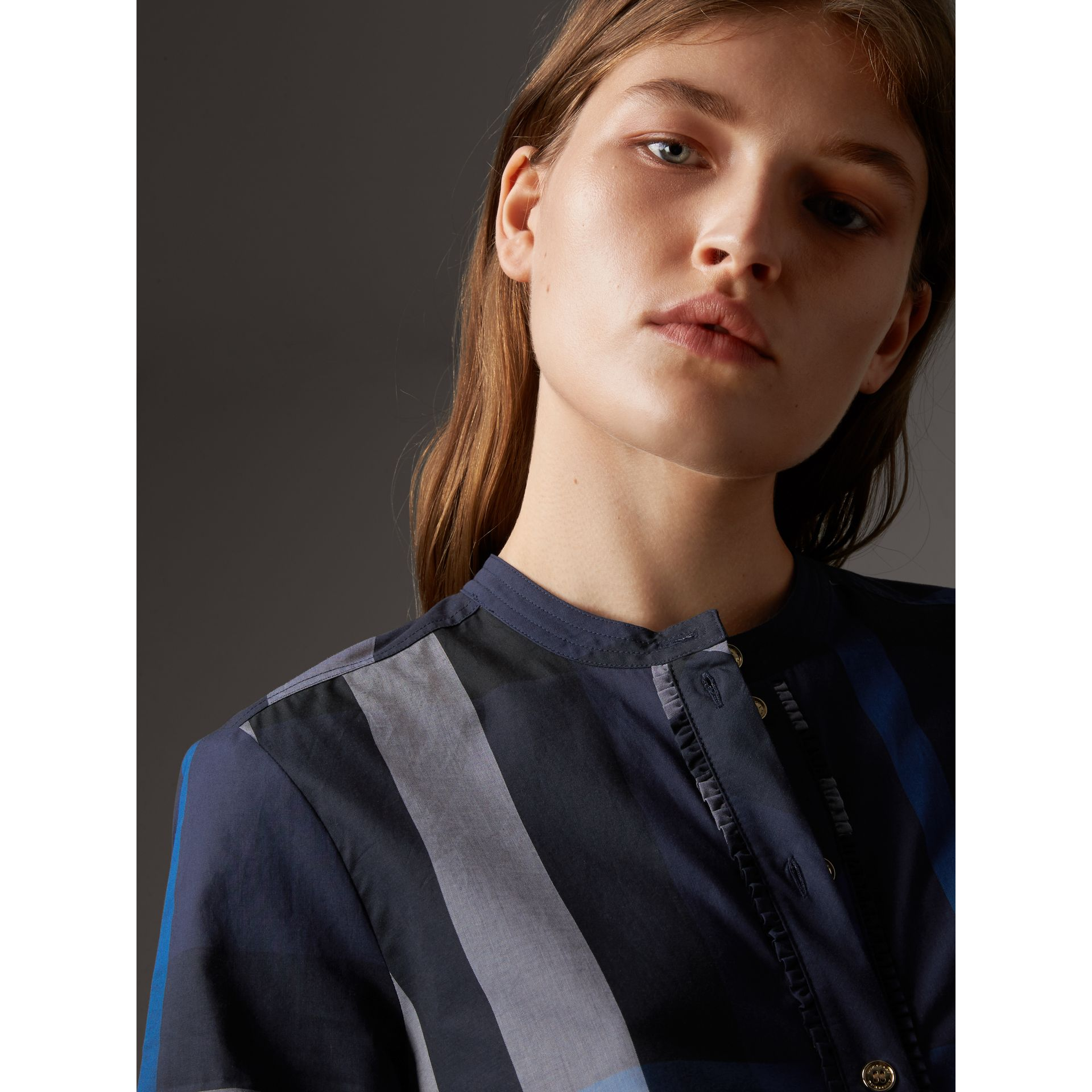Check Grandad Collar Shirt in Navy - Women | Burberry - gallery image 1