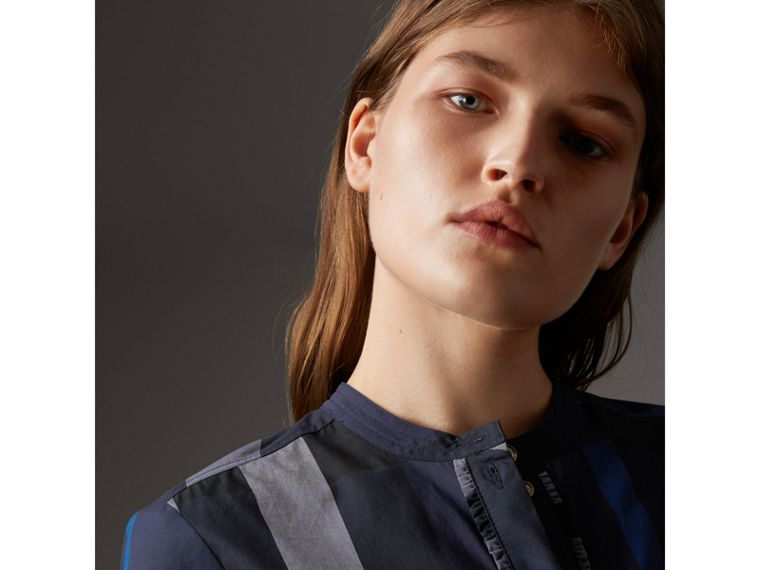 Check Grandad Collar Shirt in Navy - Women | Burberry - cell image 1