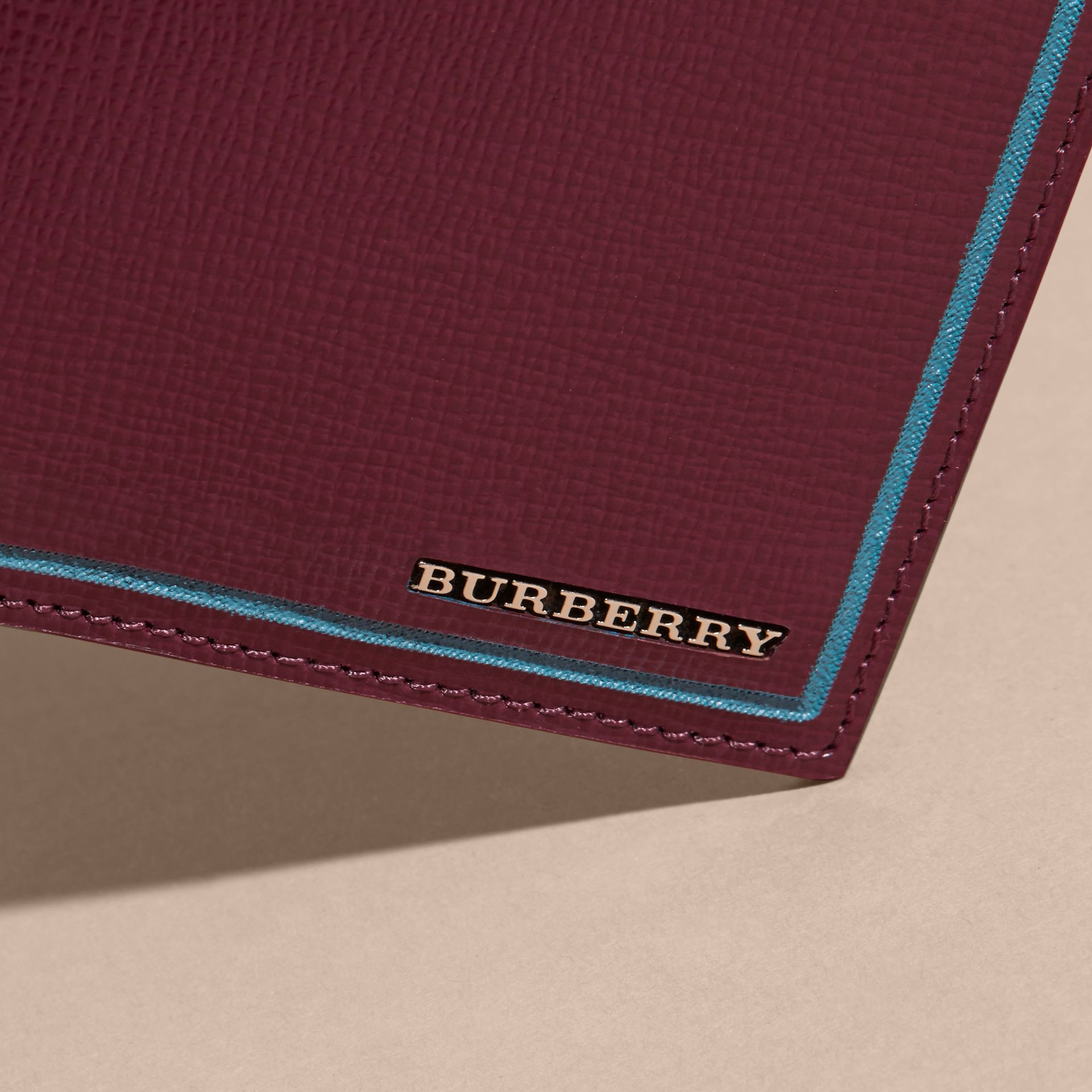 Border Detail London Leather Continental Wallet in Burgundy Red - gallery image 6