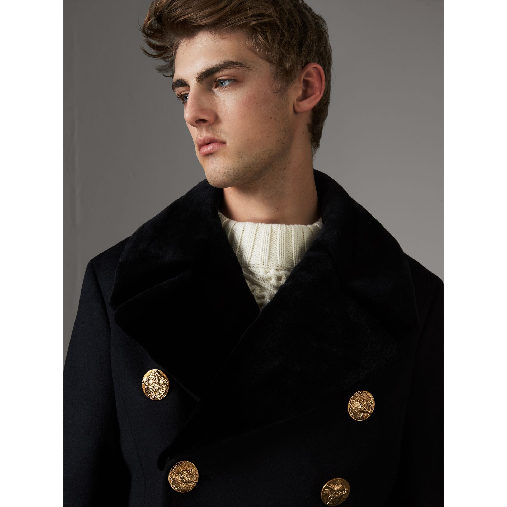 Detachable Mink Collar Cashmere Wool Greatcoat in Black - Men | Burberry United Kingdom - gallery image 1