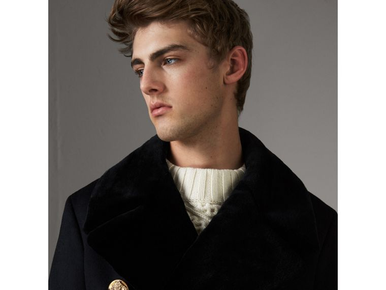 Detachable Mink Collar Cashmere Wool Greatcoat in Black - Men | Burberry United Kingdom - cell image 1