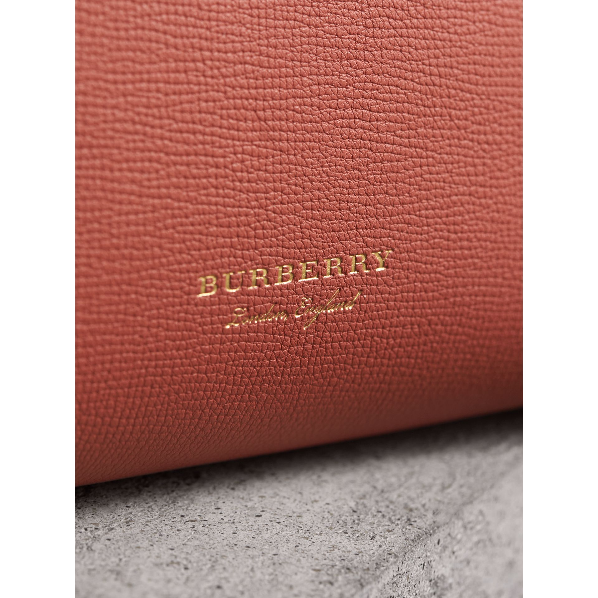 The Small Banner in Leather and House Check in Cinnamon Red - Women | Burberry United Kingdom - gallery image 1
