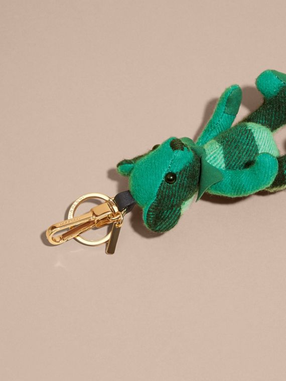 Emerald Thomas Bear Charm in Check Cashmere Emerald - cell image 3