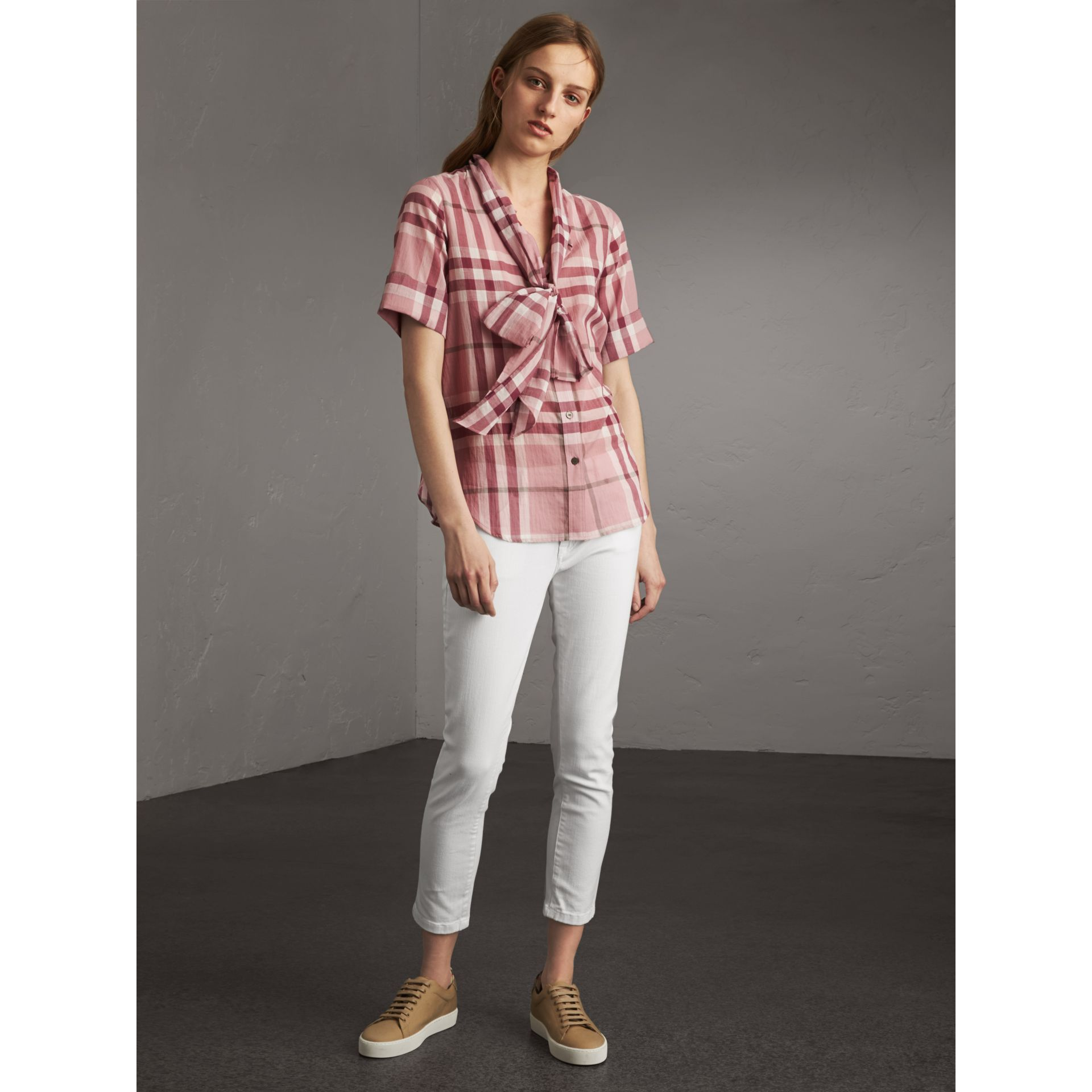 Short-sleeve Check Cotton Tie Neck Shirt in Antique Pink - Women | Burberry - gallery image 0