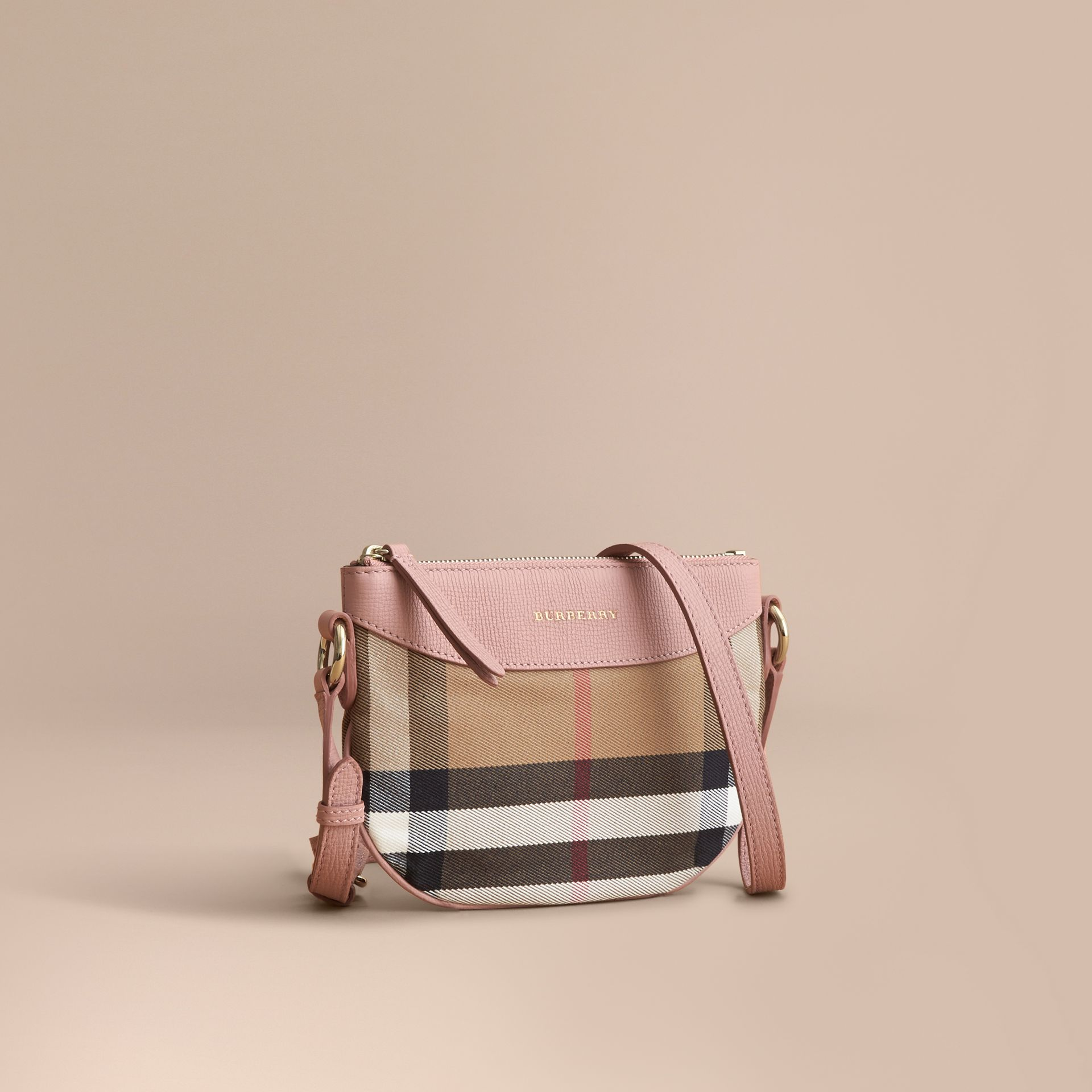 House Check and Leather Crossbody Bag in Pale Orchid | Burberry - gallery image 1